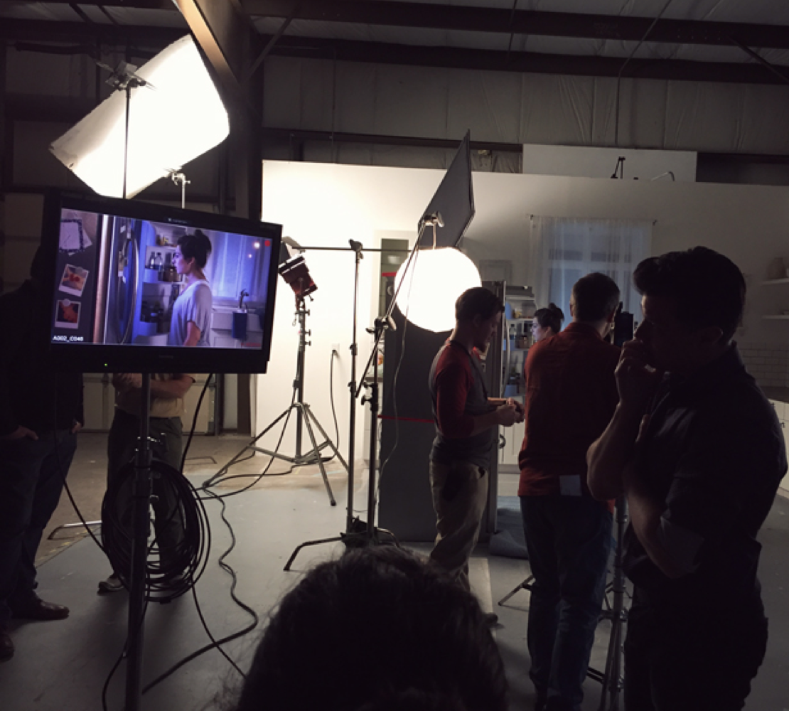 Production behind the scenes at commercial shoot