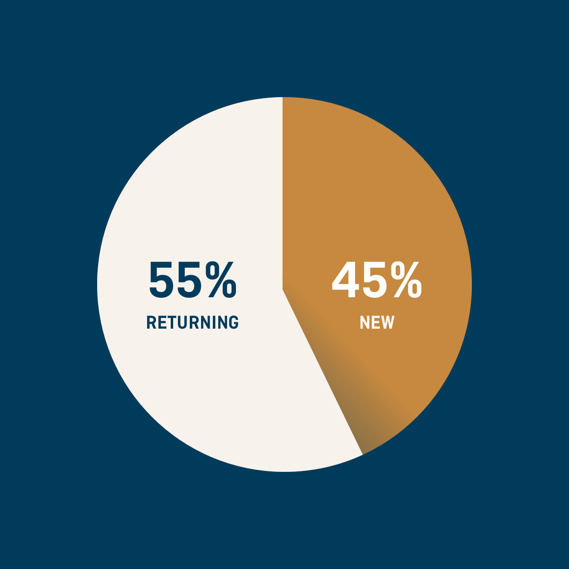 Pie chart showing user type 55% returning and 45% new