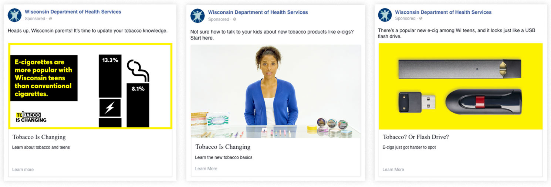 Three facebook posts side by side communicating changes in tabacco use