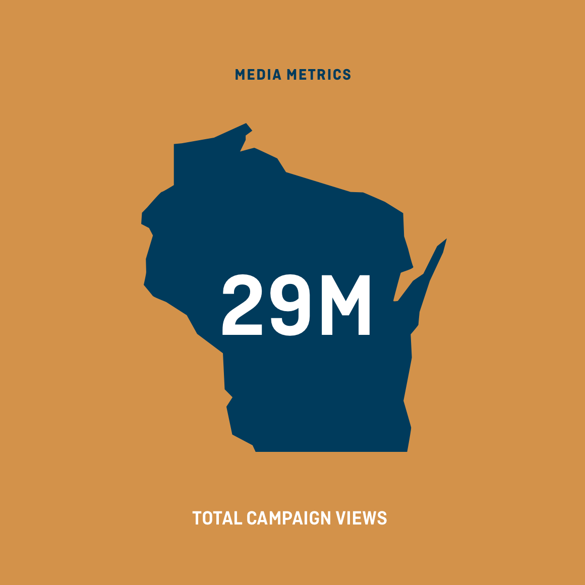 Graphic of the state of Wisconsin showing 29 million campaign views
