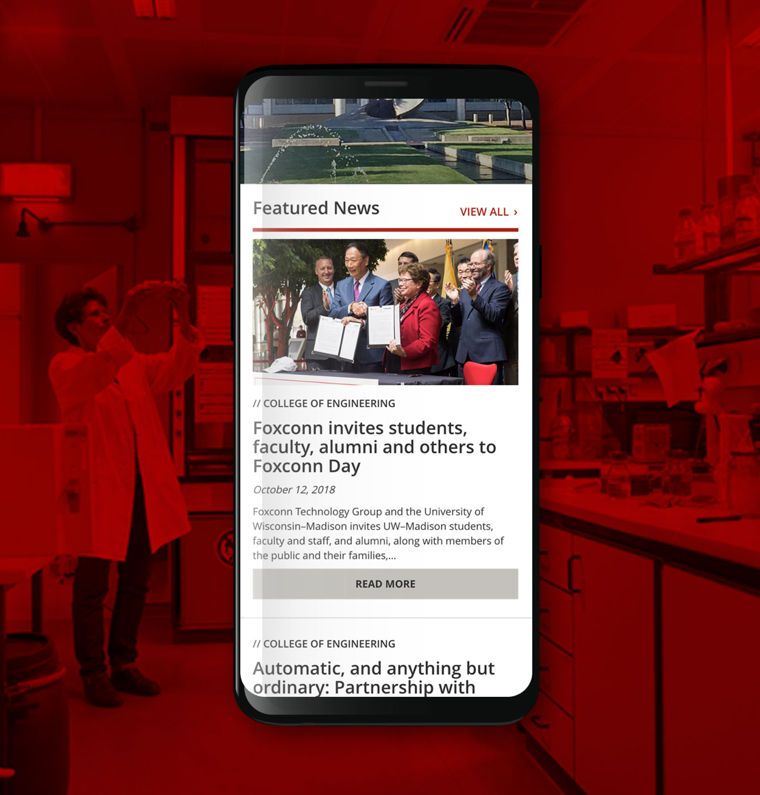 Mobile device with UWCOE site on screen background is a woman in a lab with red overlay on image