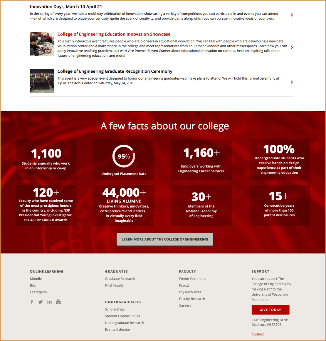 Website page showing facts about UWCOE